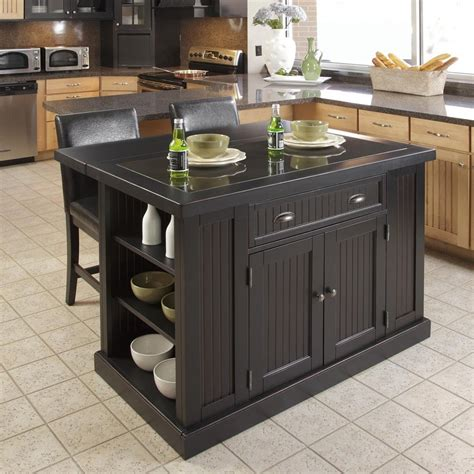 black kitchen island with stools shop home styles 48 in l x 37 in w x 36 25 in h distressed black kitchen island with 2 stools at