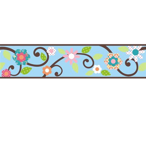Wall Border Stickers scroll floral wall sticker border blue brown stickers