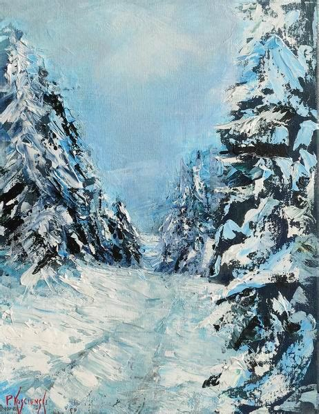 acrylic painting winter by pat koscienski blue spruce and winter snow