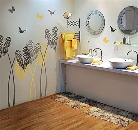 bathroom wall stencil ideas the of flower wall stencils for painting to give your house makeover home design interiors