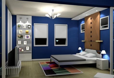 pop blue bedroom interior design image 2014