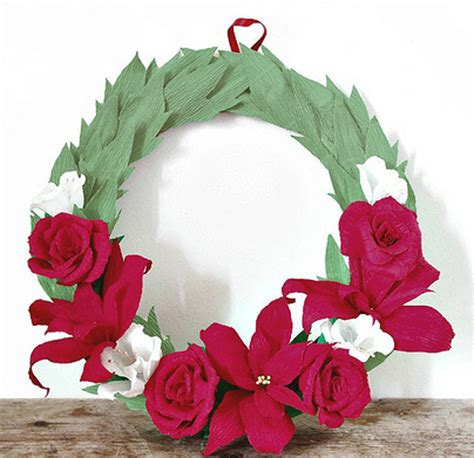 poinsettia rubber st gorgeous crepe paper wreath allfreepapercrafts