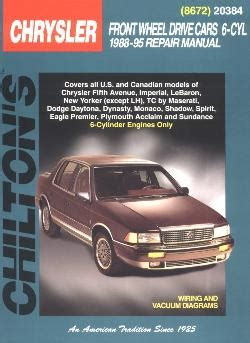 online auto repair manual 1996 chrysler new yorker instrument cluster 1988 1995 all 6 cyl chrysler brands front wheel drive cars chilton manual