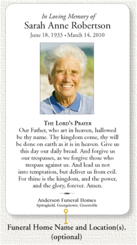 how to make funeral cards funeral home memorial prayer card info page