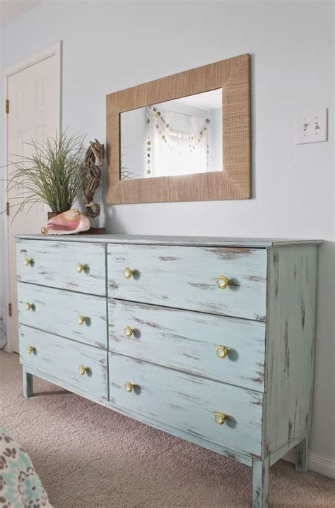 Beach Themed Furniture beach themed bedroom aqua painted unfinished dresser from