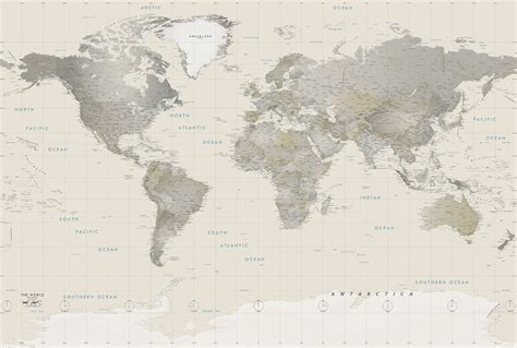 World Wall Map Mural neutral tones world political map mural