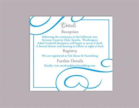 aqua card make a payment diy wedding details card template editable text word file