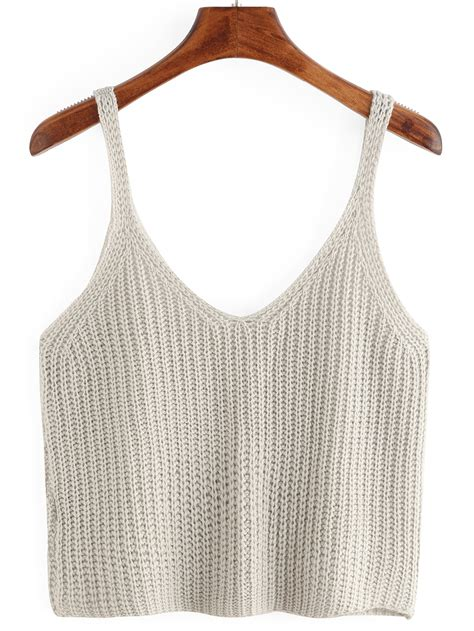 knitted tank top knitted crop tank top shein sheinside