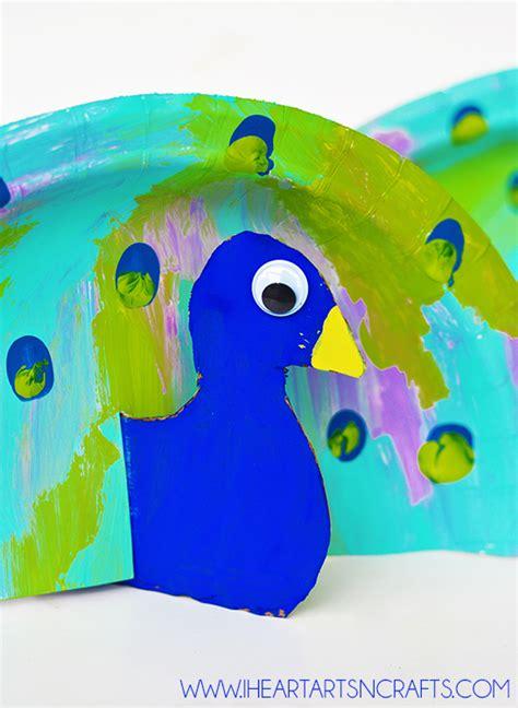 peacock paper plate craft paper plate fingerprint peacock craft i arts