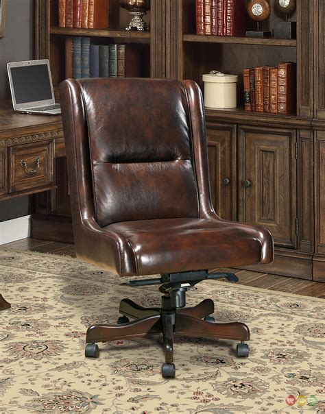 small leather desk chair cigar brown genuine leather armless desk chair traditional