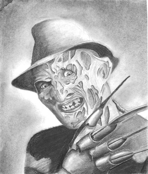 scary drawing freddy krueger 8 x 9 1 2 by wretchedsketches