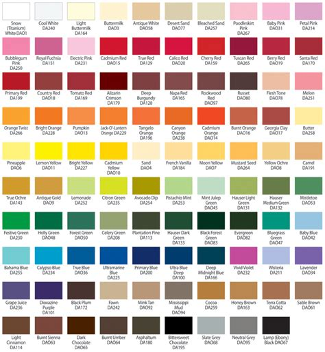 paint colors chart americana acrylic paint color chart jpg color mixing