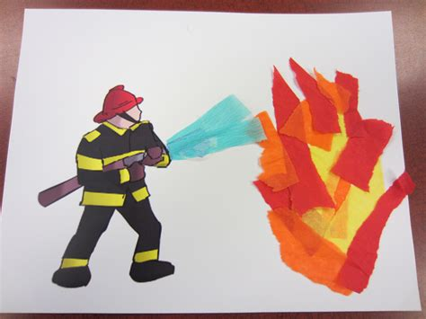firefighter crafts for a pre printed firefighter picture and torn tissue paper