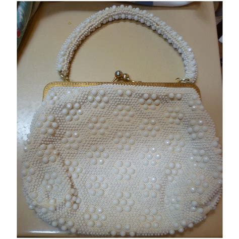 vintage beaded purse le jule label vintage 50s white beaded purse handbag from