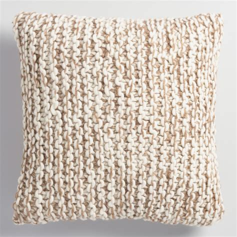 knit throw pillow oatmeal and ivory chunky knit throw pillow world market
