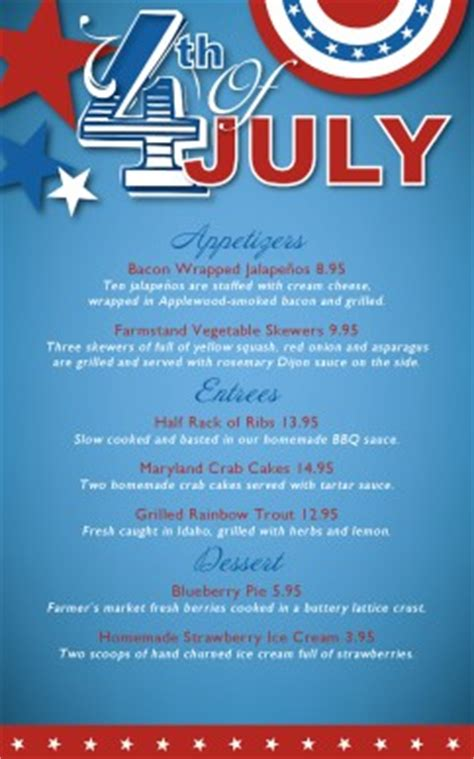 customize july 4th celebration specials menu