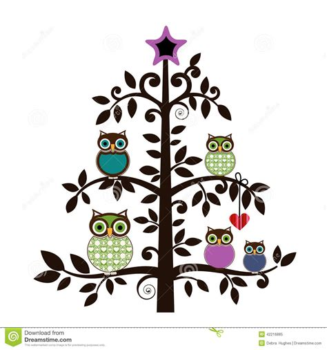 whimsical owls in a tree stock vector image 42216885
