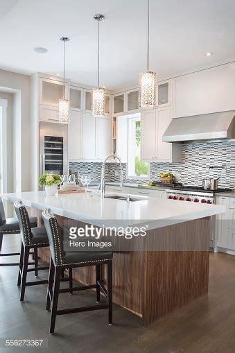 white pendant lights kitchen pendant lights modern white kitchen island stock
