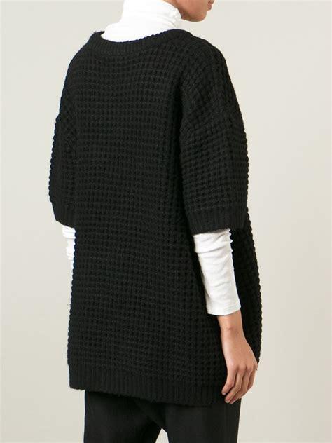 waffle knit sleeve marc by marc waffle knit three quarter length