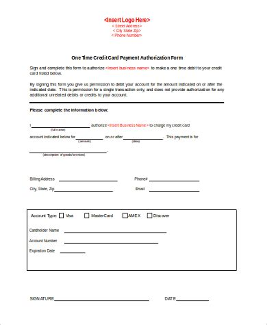 payment on credit card credit card authorization form sles 10 free