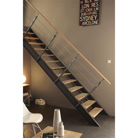 escalier droit structure aluminium marche bois leroy merlin