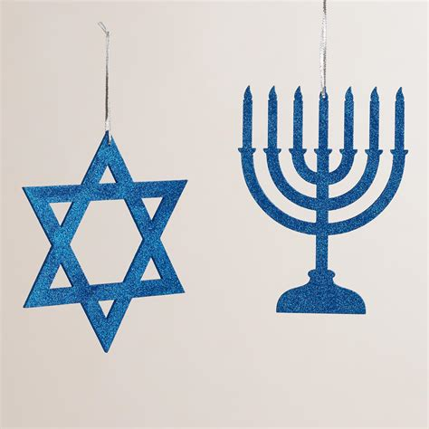 hannukah decor blue glittered wood hanukkah decor set of 2 world market