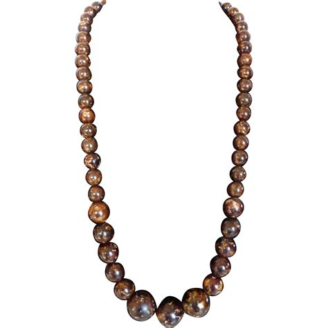 brown bead necklace marbled chocolate brown graduated bead necklace chunky