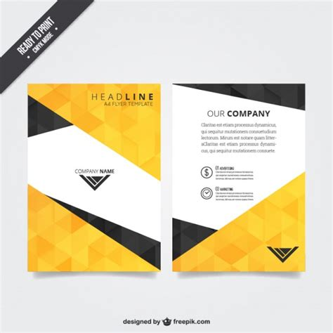 flyer template flyer template with polygonal pattern vector free