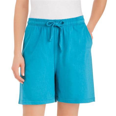 plus size knit shorts womens cotton knit elasticized waist drawstring shorts