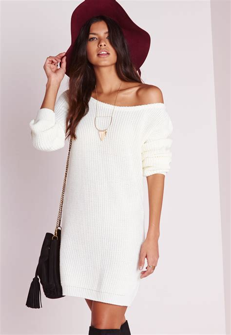 knitted sweater dress missguided shoulder knitted jumper dress in
