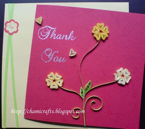 greeting cards chami crafts handmade greeting cards quilled thank you card