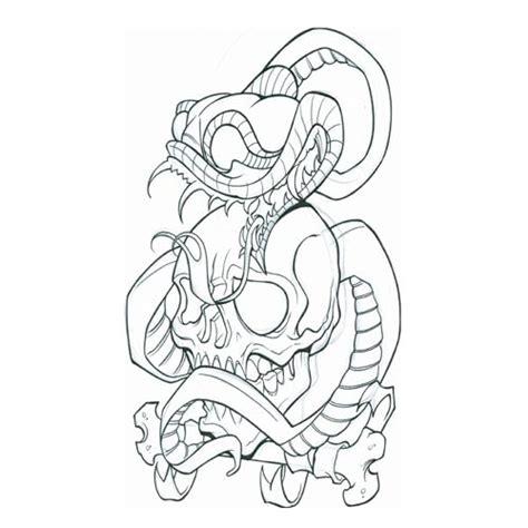 snake with skull3 skull tattoo design art flash