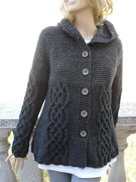 knitted jacket knit sweater womens cable knit jacket cardigan grey