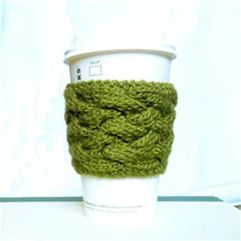 free knitting pattern coffee cup sleeve woven cable coffee cup sleeve pattern purl avenue