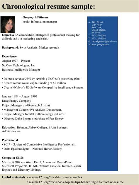 top 8 health information manager resume samples