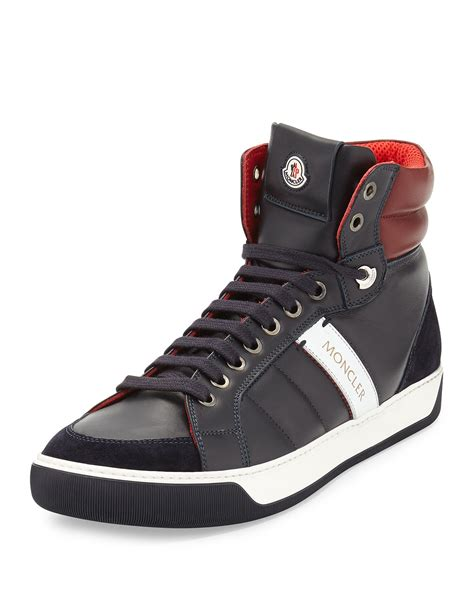 leather high top shoes for moncler leather high top sneakers in blue for lyst