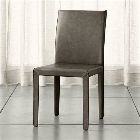 grey leather dining chairs gray armless leather parson dining chair