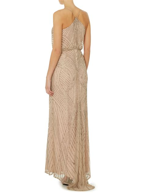 beaded halter gown papell blouson beaded gown with halter neckline