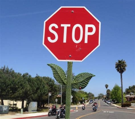 knitting signs stop sign knitted flower things
