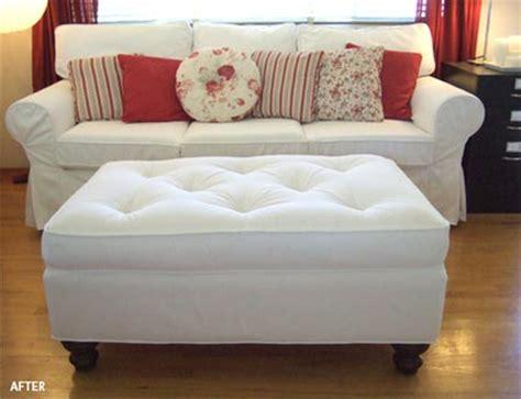 recovering an ottoman home dzine craft ideas reupholster an ottoman
