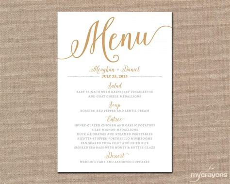how to make menu cards gold wedding menu card printable wedding menu