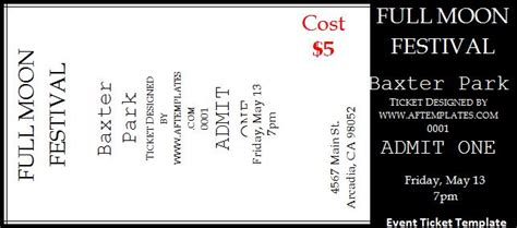 ticket templates free word s templates