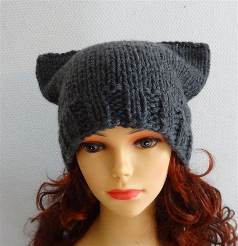 cat beanie knitting pattern cat ears hat cat beanie chunky knit winter accessories by