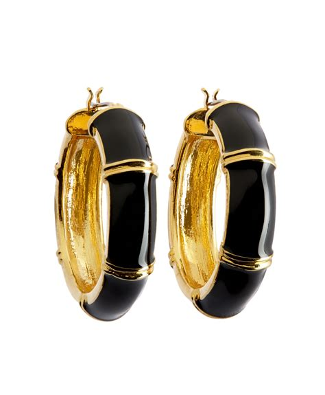gold black earrings brothers gold and black medium hoop earrings in