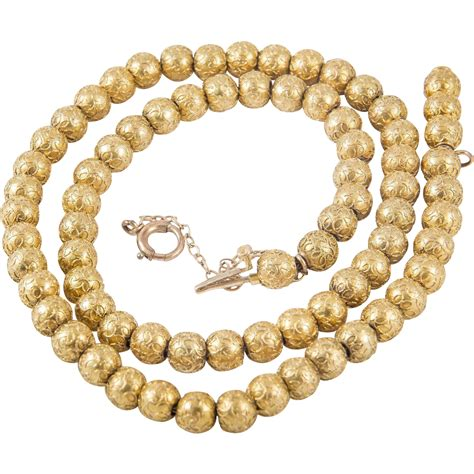 gold bead necklace vintage 14 karate gold bead necklace from louis