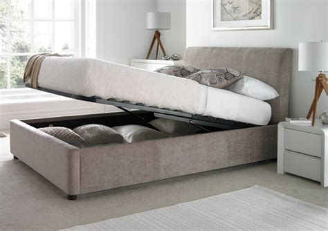 Serenity Upholstered Ottoman Storage Bed Mink Beds Bedroom Furniture Picture Bench  Andromedo