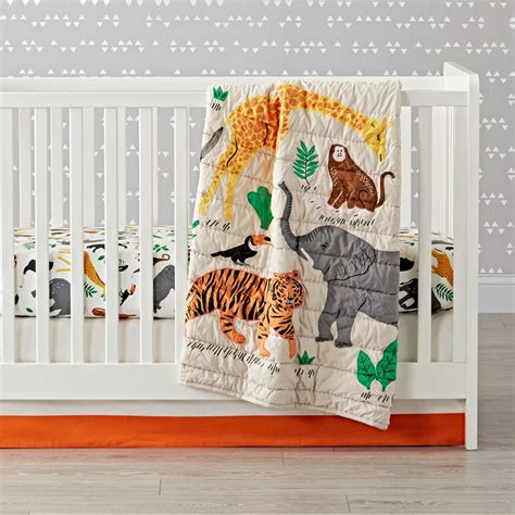 jungle crib bedding applique jungle animal crib bedding the land of nod