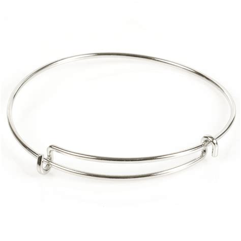 metal for bracelets steel wire adjustable bracelet with loop white plated