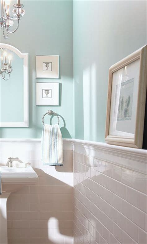 half bath update home stories subway tile half wall blue inspiration for the bathroom