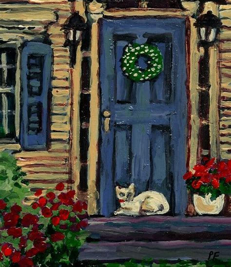 acrylic painting door canvas print acrylic painting giclee cat porch